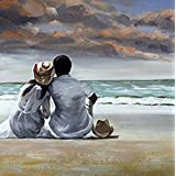"Denshine Warm Colors Lovers on Beachs Pintura al óleo pintada a maquina sin cuadro tamaño 16 ""x 24"" (40x60cm)"