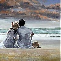 Denshine Warm Colors Lovers on Beachs Pintura al óleo pintada a maquina sin cuadro tamaño 16