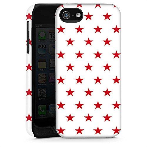 Apple iPhone 5s Housse Étui Protection Coque Étoile Rouge blanc Motif Cas Tough brillant