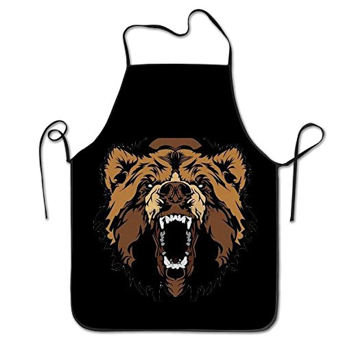 HTHYTJC Funny Grizzly Roaring Bears Kitchen Cooking Apron