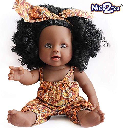 Nice2you Muñeca afroamericana Realista muñecas de 12 Pulgadas para niños Juguetes para niños