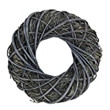 holzalbum Weidenkranz dickem Stroh Geflecht Blau Grau 35 x 35 x 8 cm Dekorationskranz