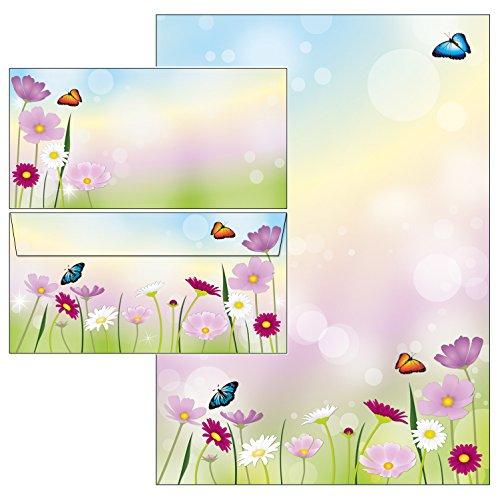 schöne Blumenwiese - Set - Blumen Briefpapier + Briefumschläge DIN lang ohne Fenster (25 Blatt...