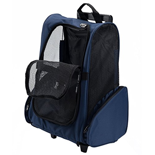 Mesh-trolley (Rolle um 4-in-1 Haustier Reise Rucksack Trolley Tasche für Hunde und Katzen Fluggesellschaft genehmigt (Blau))