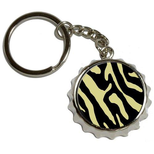 Graphics and More Zebra Print schwarz tan, vernickeltes Metall PopCap Flaschenöffner Schlüsselanhänger Ring