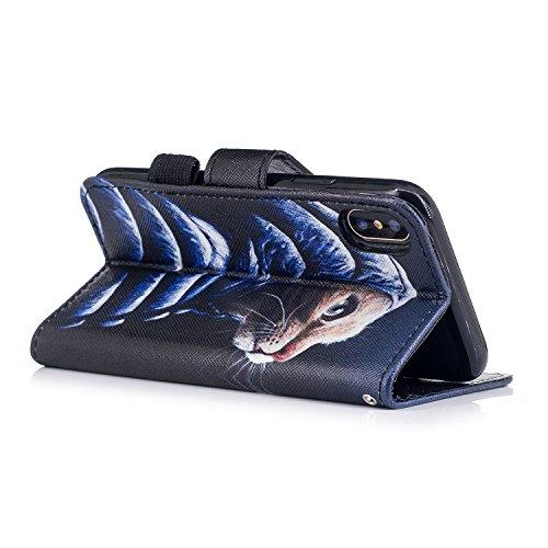inShang Hülle für iPhone X 5.8 inch mit integriertem Brieftaschen-Design, iPhoneX 5.8inch cover case mit Standfunktion. Down jacket cat