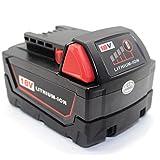 QUPER Batterie de rechange Lithium-ion 18V 5.0Ah pour Milwaukee M18 48-11-1850 48-11-1852 48-11-1820 48-11-1828 48-11-10 Batterie sans fil XC Redlithium Tools