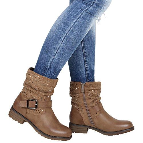 Damen Strass Stiefeletten Boots Schnallen Khaki Biker wa7Swq1