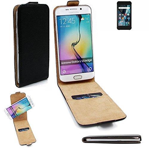 K-S-Trade® Für Archos Sense 47X Flipstyle Schutz Hülle 360° Smartphone Tasche, Schwarz, Case Flip Cover Für Archos Sense 47X