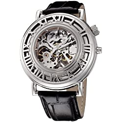 Rougois Pop up Skeleton Mechanical Watch - Silver Tone with Black Leader Band
