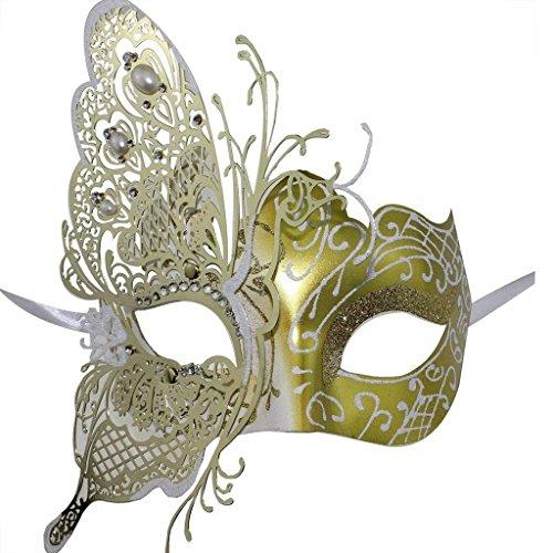 Superw 3D Shiny Schmetterling Lady Masquerade Halloween Mardi Gras Party Maske Schmiedeeisen Maske (Farbe : Gold)