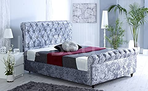 DELUXE STYLE SLEIGH CRUSHED VELVET DESIGNER BED UPHOLSTERED FRAME FABRIC HEADBOARD FOOTBOARD LUXORIOUS DIAMANTE (4.6FT,