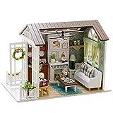 Oshide Puppenhaus Süß DIY House mit Licht Musik als Kinder Geschenk (Weißes Gartenhaus)