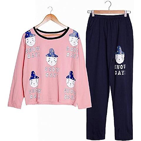 LIUDOU Pijama chicas Linda de la historieta manga larga algodón ropa trajes de algodón , m