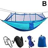 ASOSMOS Ultraleichte Hängematte mit Moskitonetz 2 Personen Belastbarkeit von 200kg Tragbare Hängenden Schnell Trocknende Fallschirm Nylon Bett Zelt für Outdoor Camping Jagd Garten Reise