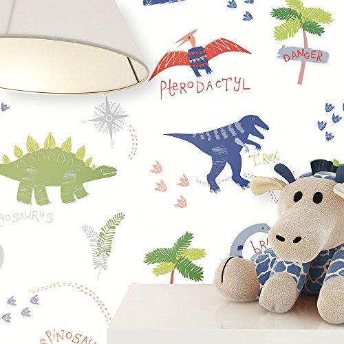 NEWROOM Kindertapete Bunt Dinosaurier Urzeit Kinder Papiertapete Papier Kindertapete Kinderzimmer Babytapete Babyzimmer Niedlich