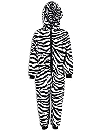 Camille Childrens Unisex Zebra Animal Print Soft Fleece Hooded Onesie