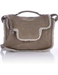 CONTEMPO Cntmp Damen Velours Leder Satchel-Bags, Schultertaschen, Crossover-Bags, Umhängetaschen Camel, Beige 27x18x9 cm (B x H x T)