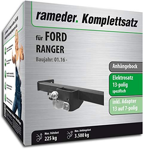 Rameder Komplettsatz, Anhängebock mit 2-Loch-Flanschkugel + 13pol Elektrik für Ford Ranger (142836-09853-1)