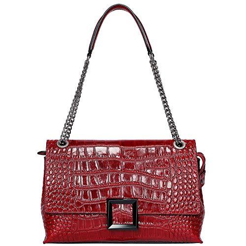 PIJUSHI Damen Schultertasche Crossbody Taschen Designer Krokodil-Kette Geldbörse, Rot (Red Croco), Einheitsgröße - Importierte Designer-taschen