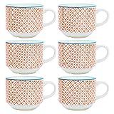 Nicola Spring Gemusterte, stapelbare Porzellan Tee/Kaffee Tassen - Orange/Blau Design - 6er Packung