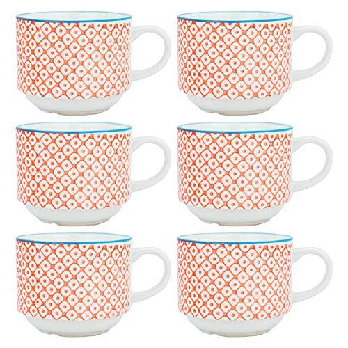 Nicola Spring Tasses empilables pour Le thé et Le café en Porcelaine à Motifs - Motifs Oranges/Bleus - Pack de 6