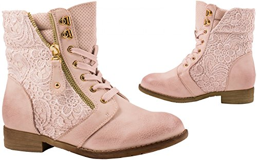 Elara Damen Stiefeletten   Bequeme Biker Boots   Lederoptik Schnürstiefeletten Pink Paris