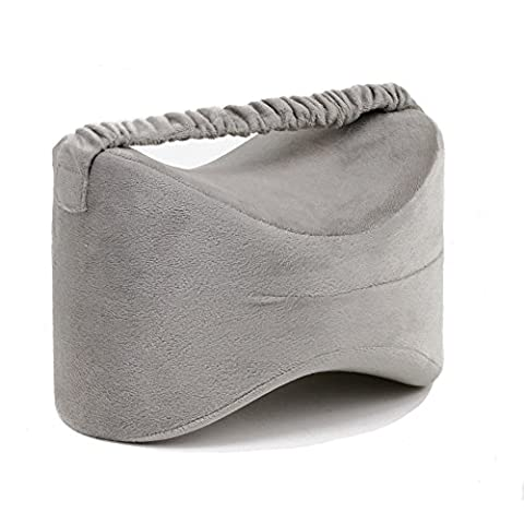 sunsang Knee Pillow Memory Foam Leg Wedge Pillow with Elastic Strap, Multi Use Contour Ergonomic design for sciatica Pain Relief, Leg Painted PREG Nancy, Hip and Joint Pain, Grey