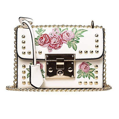 NMERWT Frauen Messenger Bags Kette Stickerei Rose Crossbody Schultertasche Kettenbeutel mit Nieten Freizeit Messenger bag