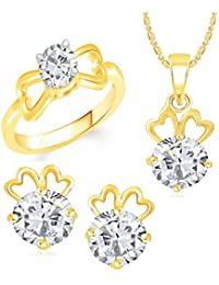 VK Jewels Solitaire Gold Plated Alloy Ring & Pendant Set Combo For Women & Girls - COMBO1398G [VKCOMBO1398G]