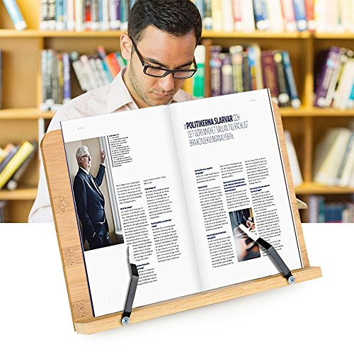 Zipom Reading Rest Wooden Book Stand Holder Cookbook Cook Recipe Asjustable Book Dispaly Stand Cook Kitchen Music Note Ergonomic iPad & Tablet Holder - Designed for Professionals & Students