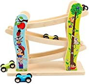 Toddler Toys Race Track, Wooden Race Track Car Ramp Racer With 4 Mini Cars, Educational Creative Toddler Toys