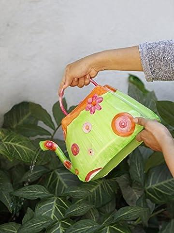 Decoratif non rustique canette Arrosoirs avec poignee pour de plein air Interieur accessoires de decoration de jardin (Vert et rose unique)