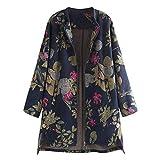 Missoul Womens Winter Warm Outwear Vintage Floral Print Button Pockets Parka Oversize Cotton Linen Fluffy Fleece Thick Coats (ZA Blue)