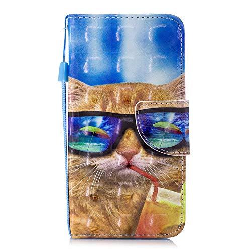 Edaroo Samsung S7 Tasche Lustig Comic Karikatur Cartoon Sonnenbrille Katze Motiv PU Leder Brieftasche Schutzhülle Klappbar mit Magnetverschluss Kartenfächer Standfunktion für Samsung Galaxy S7