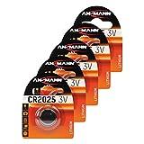 ANSMANN 5X CR2025 Batterie Lithium Knopfzelle 3V / Qualitativ hochwertige Knopfbatterien/Ideal für Autoschlüssel, TAN-Gerät, Taschenrechner, Kinderspielzeug, Fernbedienung, Uhren, etc.