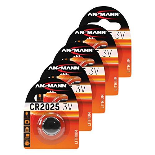 ANSMANN 5X CR2025 Batterie Lithium Knopfzelle 3V / Qualitativ hochwertige Knopfbatterien/Ideal für Autoschlüssel, TAN-Gerät, Taschenrechner, Kinderspielzeug, Fernbedienung, Uhren, etc. - Cr2025 3-volt-lithium-batterien