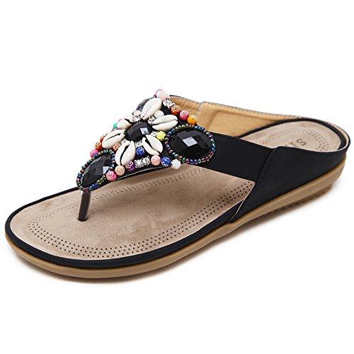 a2f9ce81b Woky Damen Summer Bohemia Zehentrenner Clip Toe Flip Flops mit Strass  Perlen Flache Freizeit Standschuhe