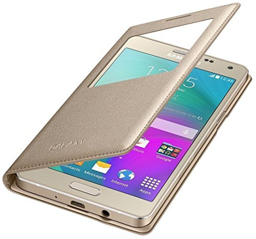 Sun Tigers Window Leather For Samsung On7 Pro With Tempered Glass Screen Protector (Gold)