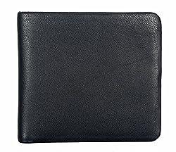 Adamis Black Leather Bi-Fold Mens Wallet