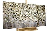KunstLoft Acryl Gemälde 'Funken der Freude' 120x60cm | Original handgemalte Leinwand Bilder XXL | Baum Herbst Blätter Braun | Wandbild Acrylbild Moderne Kunst Einteilig mit Rahmen