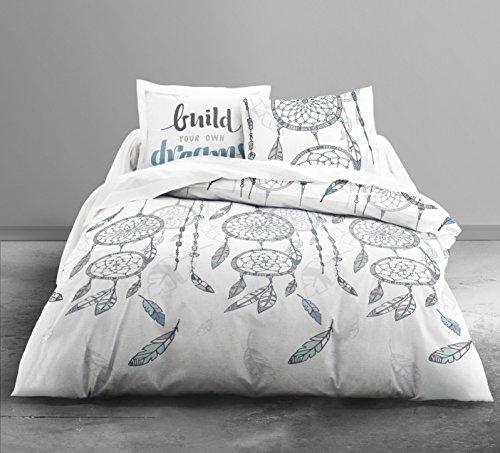 Housse de couette 220x240cm + 2 taies d'oreillers 63x63cm 100% coton 57 fils Attrapes-rêve