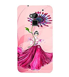 PrintVisa Cute Flower Girl Butterfly Design 3D Hard Polycarbonate Designer Back Case Cover for HTC One Max