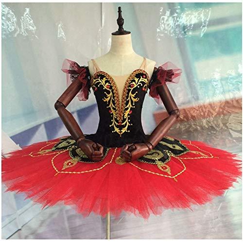 FENGHUAXUEYUE Erweiterte Benutzerdefinierte Ballett Rock Professionelle Tutu Rock 7 Schicht Hard Net Erwachsene Kinder Dance Performance Kleidung Elastische Kraft,Red,12 (Red Tutu Erwachsene)
