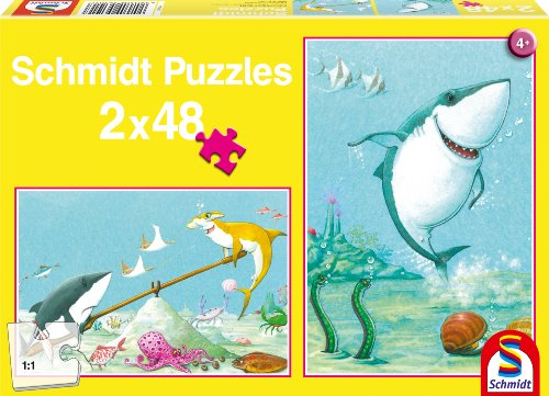Schmidt Spiele 56101 - Kleiner weißer Hai, Kinder-Puzzle, 2X 48 Teile (Spiel Hai Spiele)