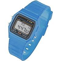Taffstyle® - Orologio sportivo, digitale, in silicone, Retrò, Vintage, anni 80, diverse funzioni, Adulto (unisex), bambino (unisex), Hellblau, cassa: 34 mm
