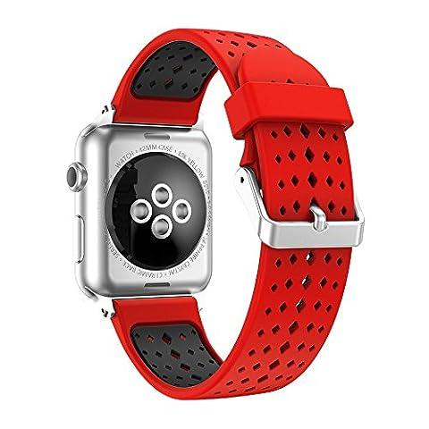Watch Band 38mm, Happytop Coque en silicone Bracelet de remplacement Bracelet pour Apple Watch Série 1/2 S Red