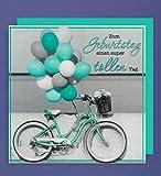Geburtstag 3D Karte Grußkarte Fahrrad Luftballons 15x15cm