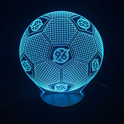 Light-serie Remote (FaceToWind Football Soccer Series Night Lights Colorful Color Brightness Adjustable USB and Battery-Powered Acrylic Material Home Decorations for Kids Gifts, Hannover 96)