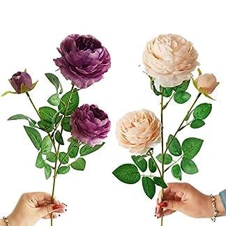 GAFAGAFA 2 Piezas 3 Cabezas Flores Ramo de peonía Flores de Seda Ramo de Novia otoño vívidas Flores de Rosa para la Boda Fiesta en casa